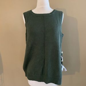 green sweater vest with lace up
